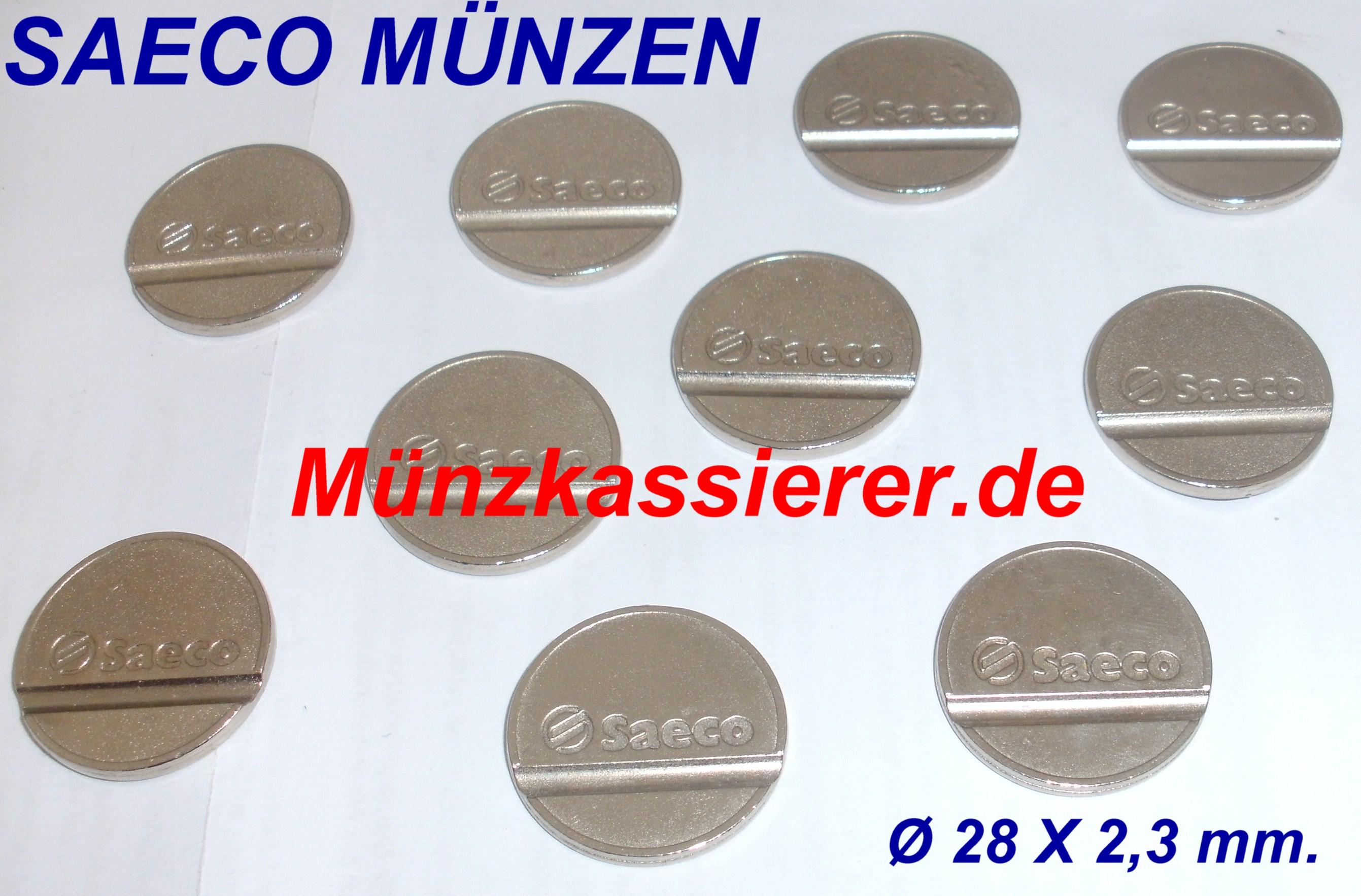 SAECO MÜNZEN Ø 28 x 2,3mm. Münzkassierer.de Saeco Kaffeemaschine