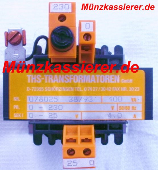 Münzkassierer.de Transformator Netzteil Trafo 230VAC 25VAC 100VA Kleinspannung ~ 25Volt AC